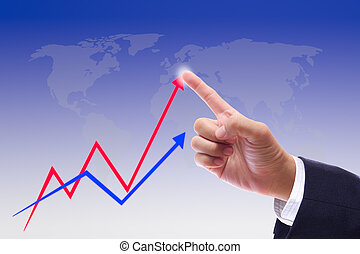 hand bring up the graph - business man hand bring up the...