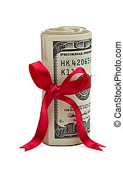 Wad of Cash with Red Bow - A wad of US one hundred dollar...