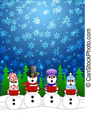 Snowman Carolers Singing with Winter Snowing Scene...