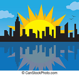 City Skyline with Sun - Daytime city skyline with large moon...