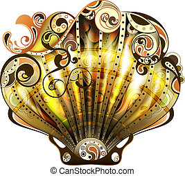 Scallop - Illustration of abstract sea shell in gold.