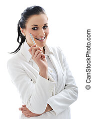 Young business woman wearing white suit
