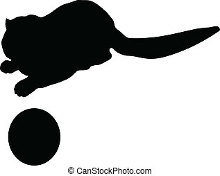 Silhouette of the cat with ball