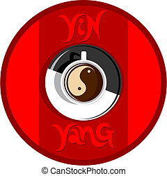 yin yang coffee on red background