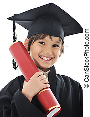 Diploma graduating little student kid, successful elementary...