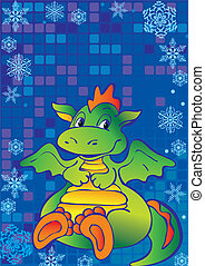 Green dragon - Funny green dragon Vector art-illustration on...