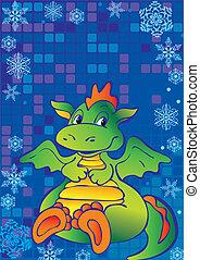 Green dragon. - Funny green dragon. Vector art-illustration...