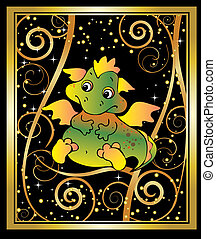 New Years card. - New Years card with baby dragon. Vector...