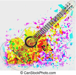 guitar in water colour - Acoustic guitar image over a water...