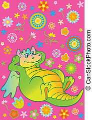 Green dragon - Green funny dragon Vector art-illustration on...
