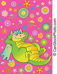 Green dragon. - Green funny dragon. Vector art-illustration...