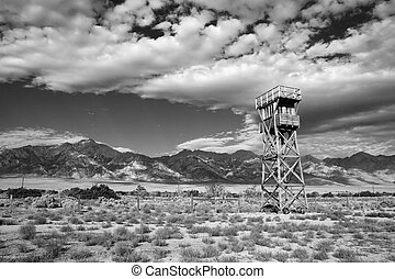 Manzanar camp - black and white image of Manzanar...