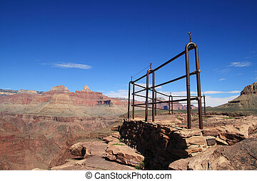 Plateau Point guard fence on the Tonto Plateau in the Grand...