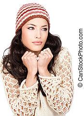 mulher, segurando, dela, suéter, cabelo, pretas, bonito