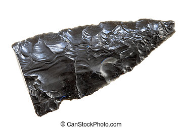 obsidian tool - broken old Native American chipped obsidian...