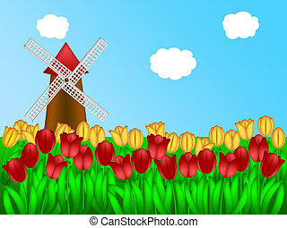 Dutch Windmill in Tulips Field Farm Illustration - Dutch...
