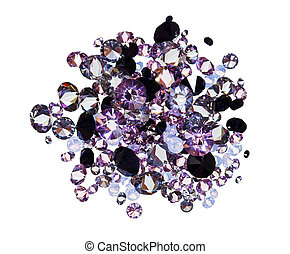 Many small purple diamond jewel stones heap isolated on...