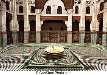 Interior Madrasa courtyard - Meknes, Morocco: Intricate and...