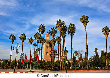 Tall palms and Moroccan Flags line approach to mosque and...