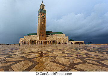 Panorama of the front of Hassan II Mosque in Casablanca,...