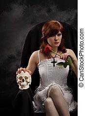 rosÈ, feiticeira, jovem, cranio, excitado