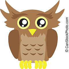 Owl Cartoon - Isolated owl cartoon looking straight ahead