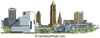 Cleveland - Skyline illustration of the city of Cleveland,...