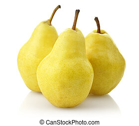 Yellow Pears On White Background, Close Up