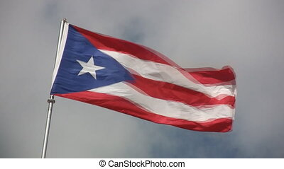 Puerto Rico Flag - Flag of Puerto Rico blowing in the wind