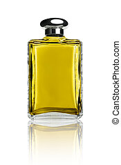 Perfume bottle isolated on white front view reflected