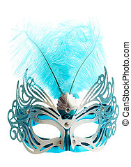 Carnival mask with feathers isolated on pure white...