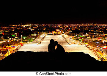 Night lovers on the top of Tuxtla Gutierres in Mexico