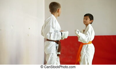 Karate Kids - little karatekas sparring off in a battle