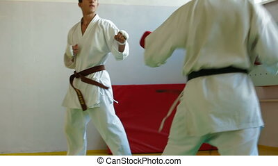 Karate fight - Martial Arts sport training in gym