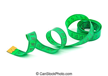 Green measuring tape isolated on white background