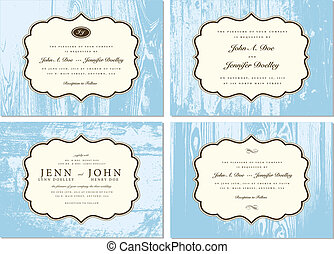Vector Wooden Frame Set Easy to edit Perfect for invitations...
