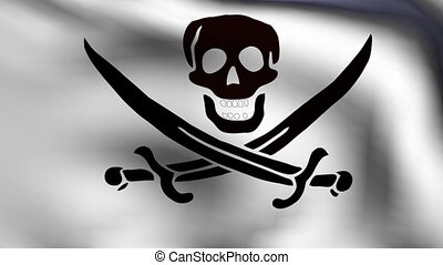 flag of pirate in animation
