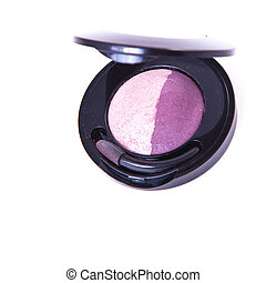 eyeshadows - round eyeshadows set with brush on white...