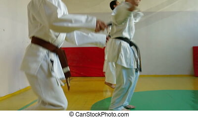 karate class - Martial Arts sport training in gym