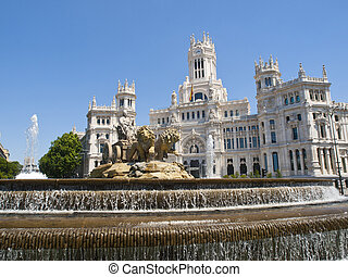 Cibeles Square and Palacio de Comunicaciones, Madrid -...