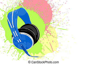 Blue headphones - Blue vector headphones with splashes on...