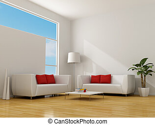 minimalist living room - white minimalist lounge with two...