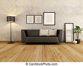 living room - brown couch with cushion against old wall in a...