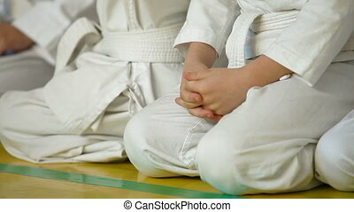 Karate Kids in line - Karate Kids sitting in line