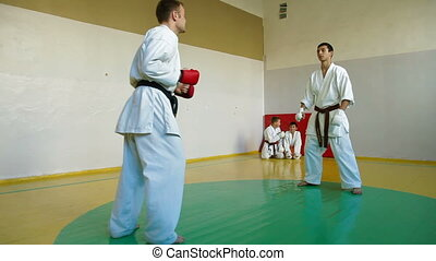 Martial arts kicking - Martial Arts sport training in gym