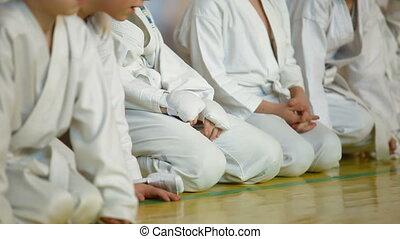 little karatekas - children in karate training at the gym