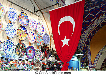turkish flag at bazaar - turkish flag and some souvenirs at...