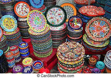 souvenirs ceramics at bazaar