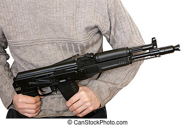 Man with AK-105 machine gun isolated on the white background