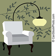 White armchair on natur background
